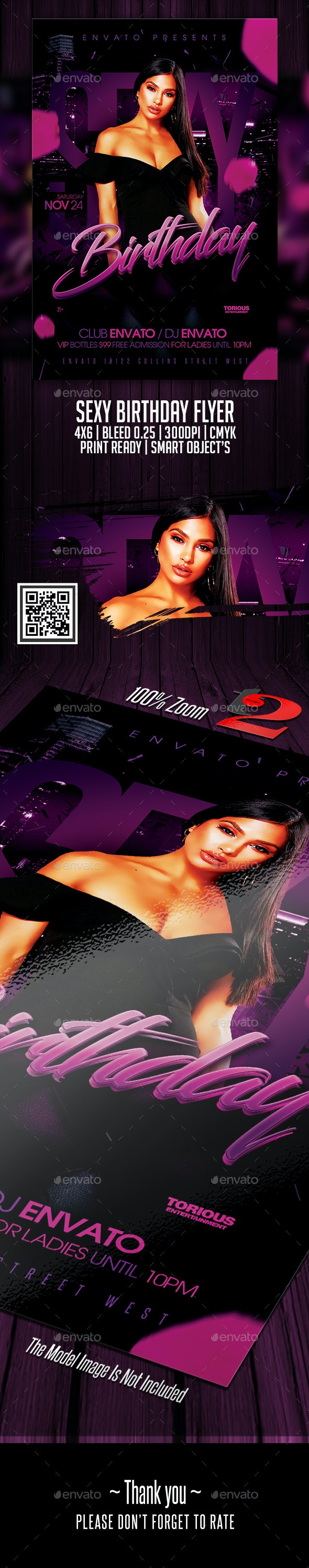 Sexy Birthday Flyer Template - Clubs & Parties Events