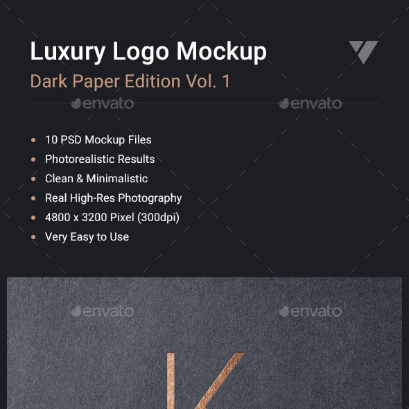 Luxury Logo Mockup Set - Dark Paper Edition Vol. 1