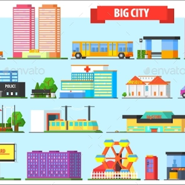 Flat Vector Set of Big City Elements. Children