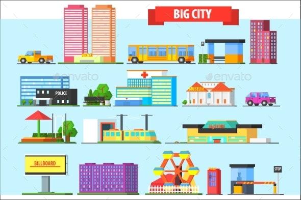 Flat Vector Set of Big City Elements. Children - Buildings Objects