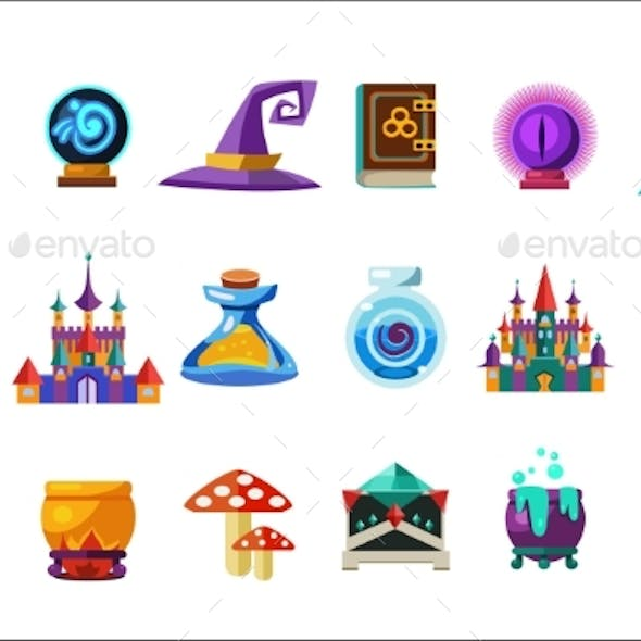Flat Vector Set of Fabulous Items for Mobile Game