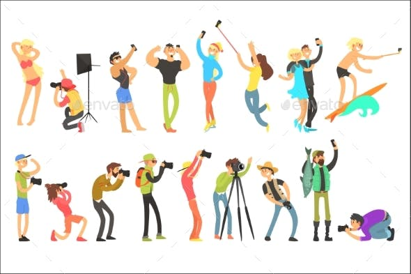Flat Vector Set of People Taking Pictures