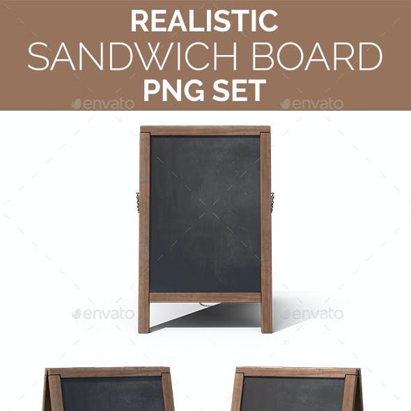 Realistic Sandwich Board / Menu Board PNG Set