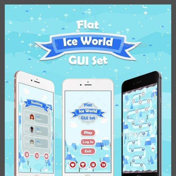 Flat Ice World Game User Interface Set