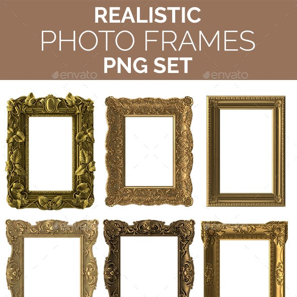 Realistic Photo / Picture Frames PNG Set