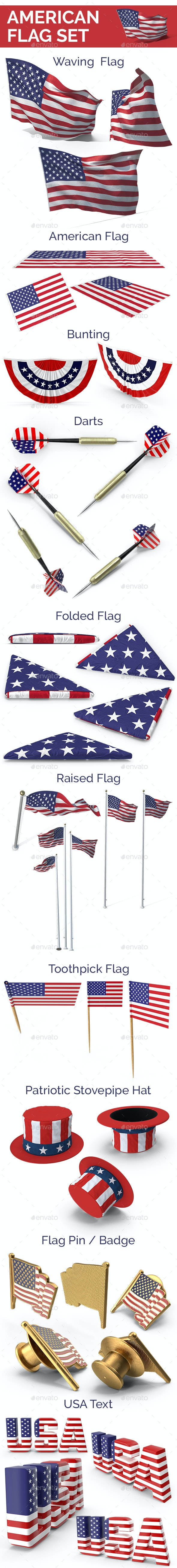 American Flag Set - Objects 3D Renders