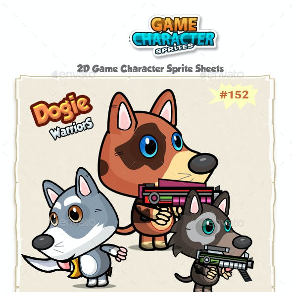 Cute Dogies 2D Game Character Sprites 152