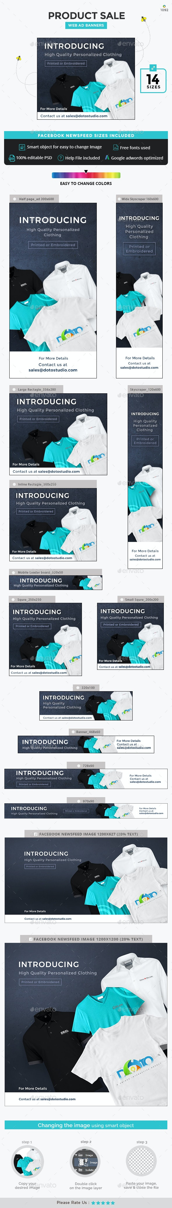 Product Sale Banner Set - Banners & Ads Web Elements