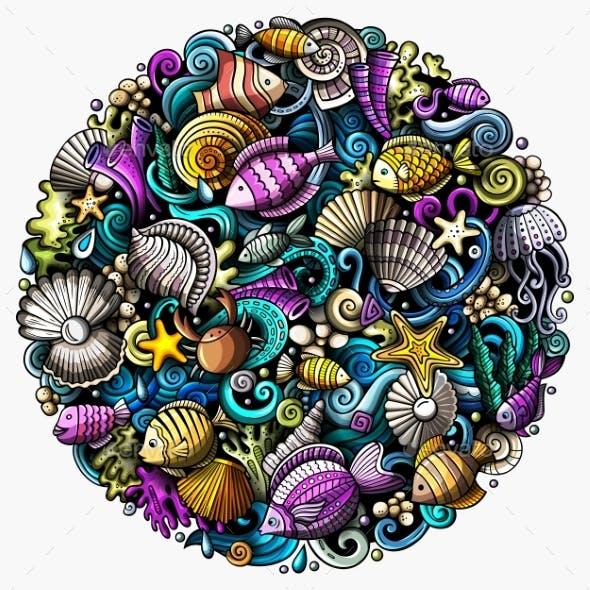 Cartoon Vector Doodles Underwater World