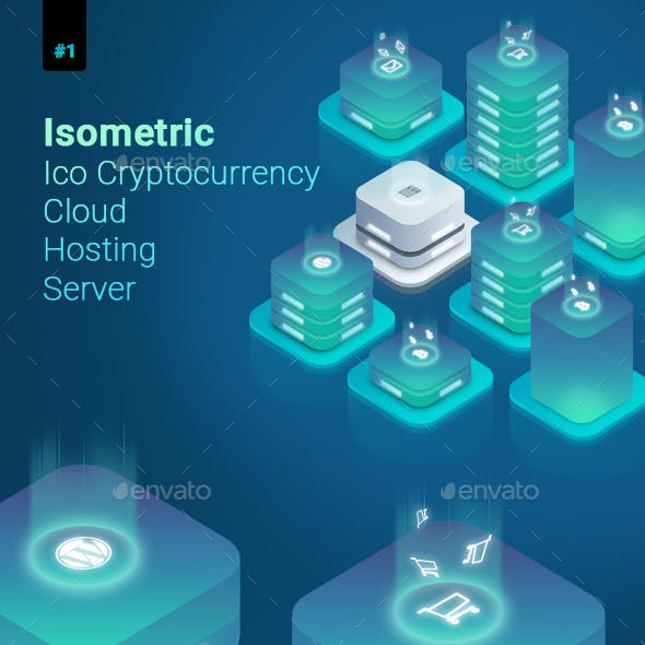 Isometric Ico Cryptocurrency Cloud Hosting Server Illustration 1