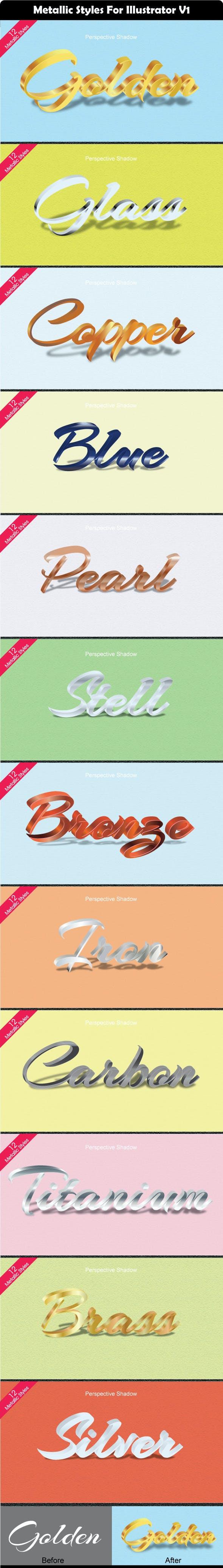 12 Metallic Styles For Illustrator V1