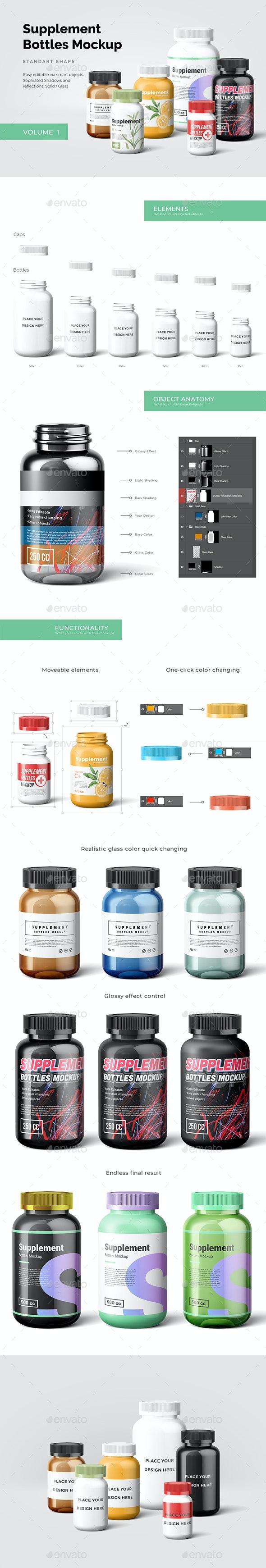 Supplement Bottles Mockup - Beauty Packaging