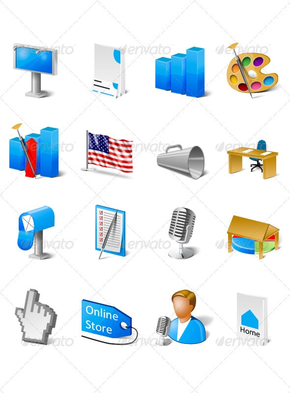 Set From 16 Raster Icons of Dark Blue Color. - Web Icons