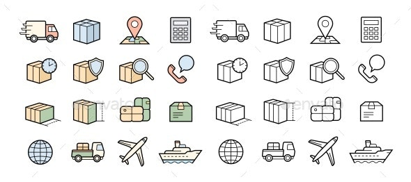 Parcel Delivery Service - Decorative Symbols Decorative