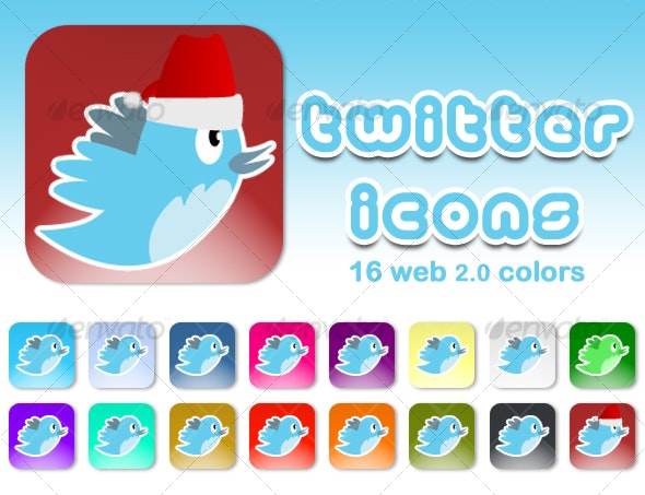 TWITTER ICONS (16 web 2.0 colors) - Web Icons