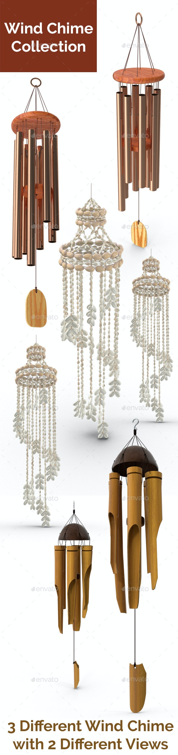 3d Rendered Wind Chime Collection - 3D Backgrounds