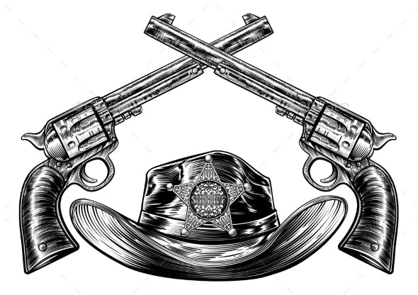 Sheriff Cowboy Hat and Guns with Star Badge