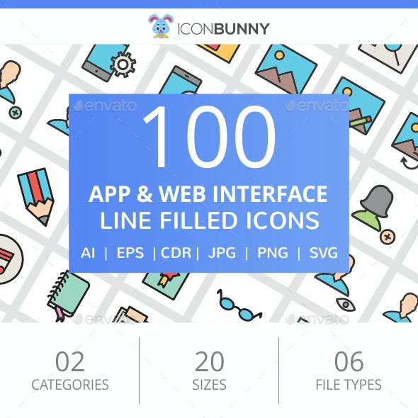100 App & Web Interface Filled Line Icons