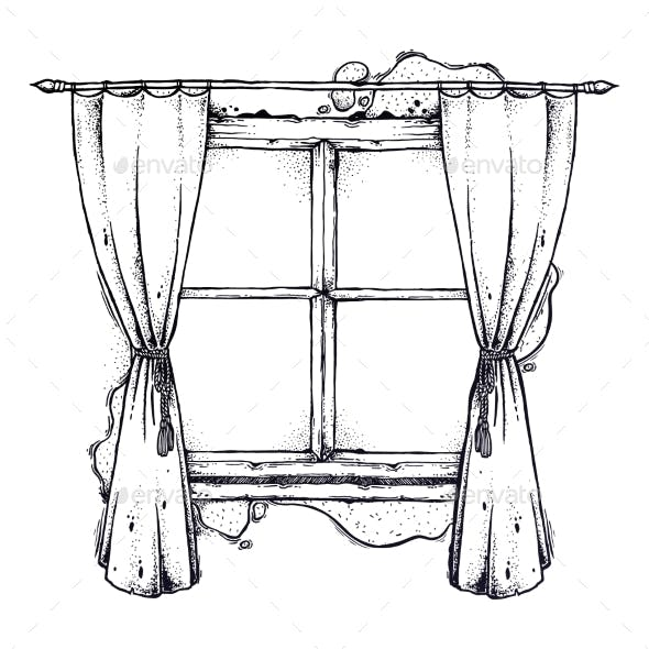 Illustration of Window and Curtains Sketch
