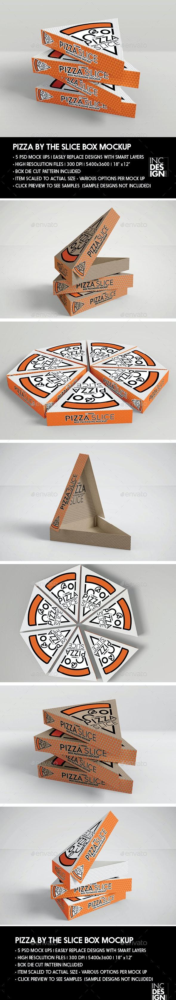 Packaging Mockup Pizza Slice Box - Product Mock-Ups Graphics