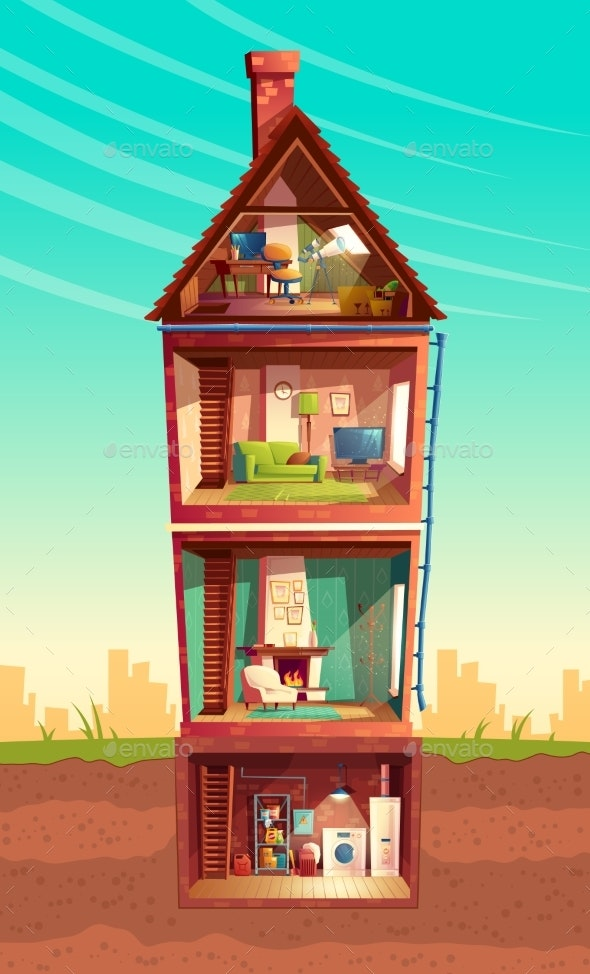 Vector Cartoon Multistorey House in Cross Section - Buildings Objects