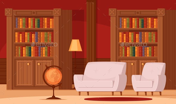 Library Interior Flat