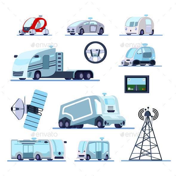 Autonomous Driverless Vehicles Set