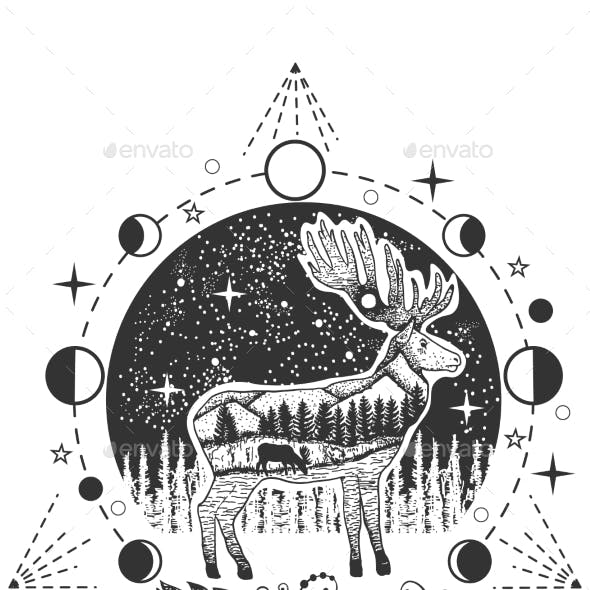 Vector Elk Tattoo or T-shirt Print Design