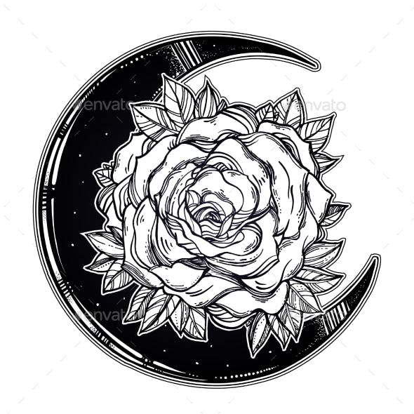Floral Rose Crescent Moon Composition.