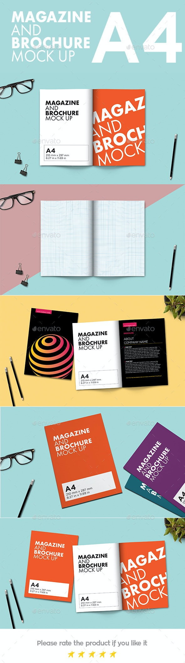 A4 Brochure and Magazine Mock-Up - Magazines Print