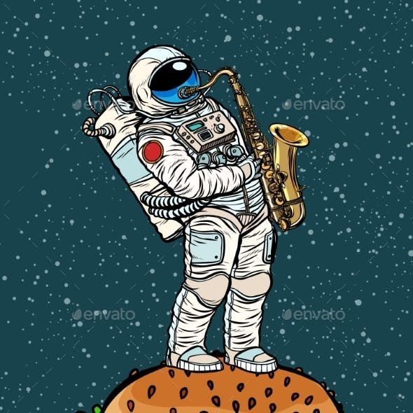 Astronaut Plays Saxophone on a Burger