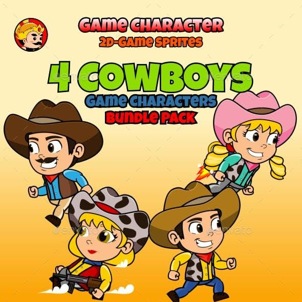 4 Cowboys 2D Game Characters Sprites Pack