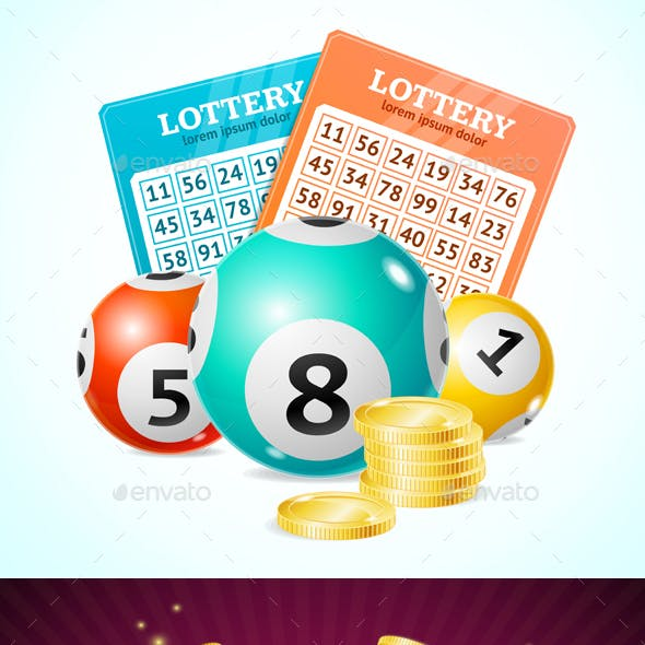 Realistic Detailed 3d Lotto Concept Card Background. Vector