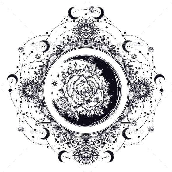 Ornate Vintage Round Frame with Crescent Moon Rose