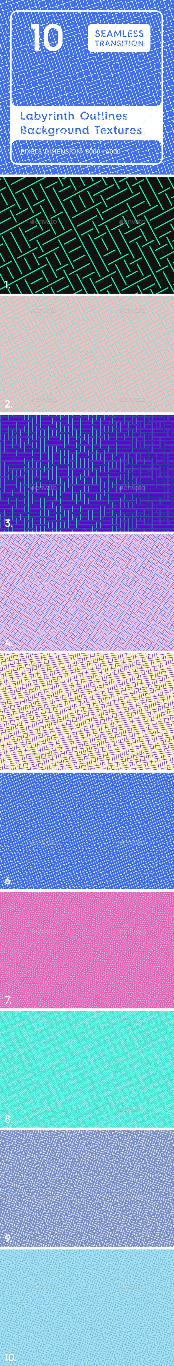 10 Labyrinth Outlines Backgrounds - Patterns Backgrounds