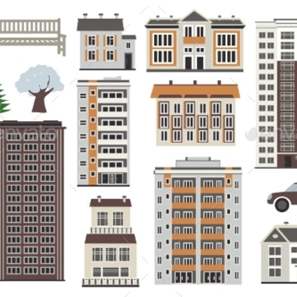 Various City Elements in Winter Time - Multistorey