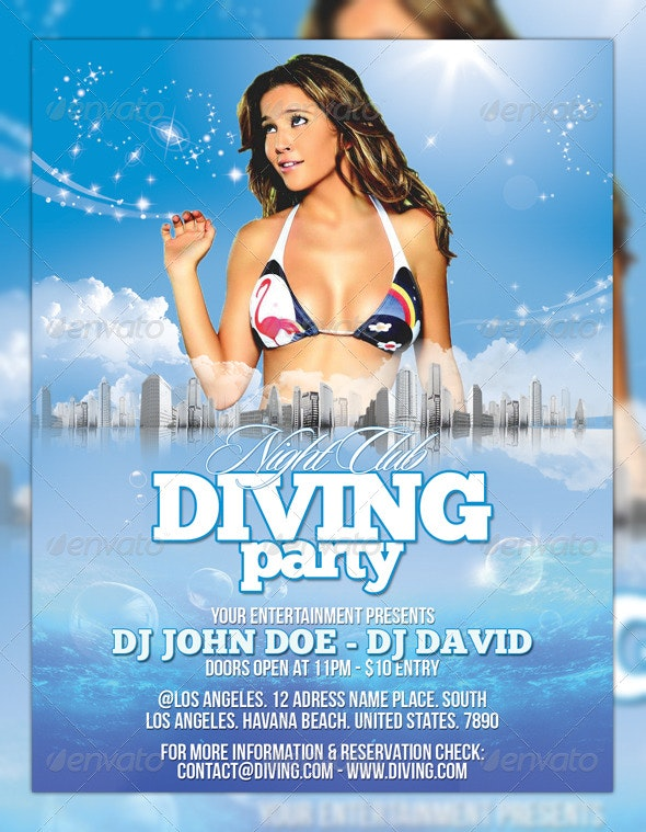 Diving Party Flyer - Clubs & Parties Events