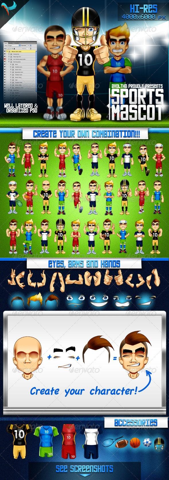 Animatable Sports Mascot Character Kit - Characters Illustrations