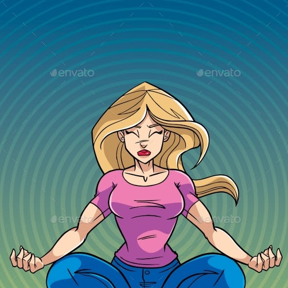 Meditating Woman with Background