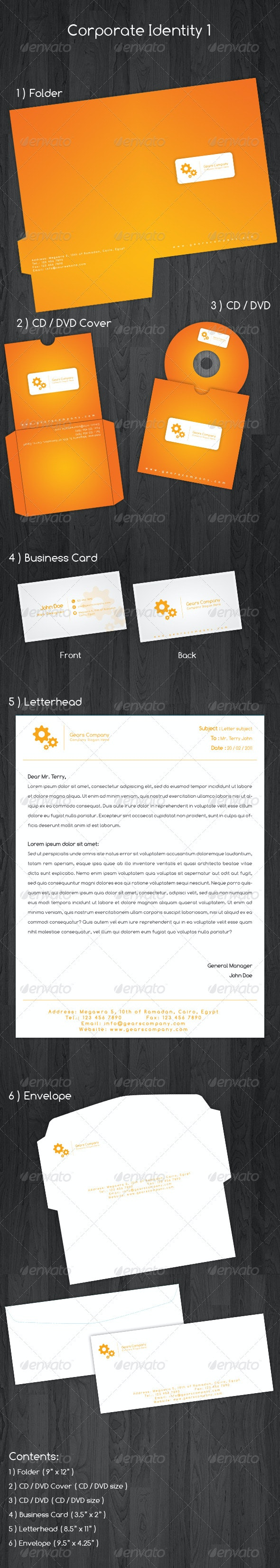Gears Corporate Identity - Stationery Print Templates