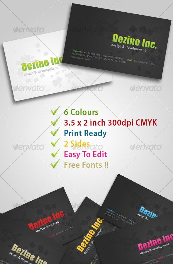 Dezine Black & White 2 Side Card (6 Colours) - Creative Business Cards
