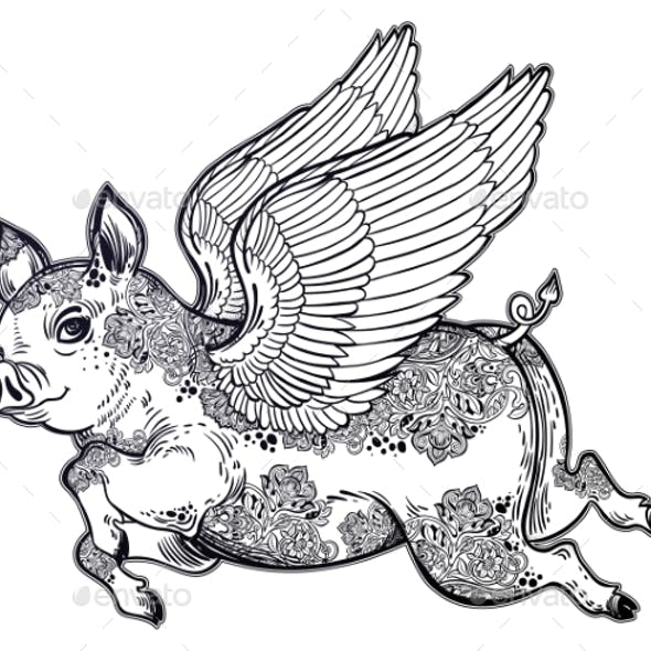 Flying Tattooed Winged Pig Illustration.