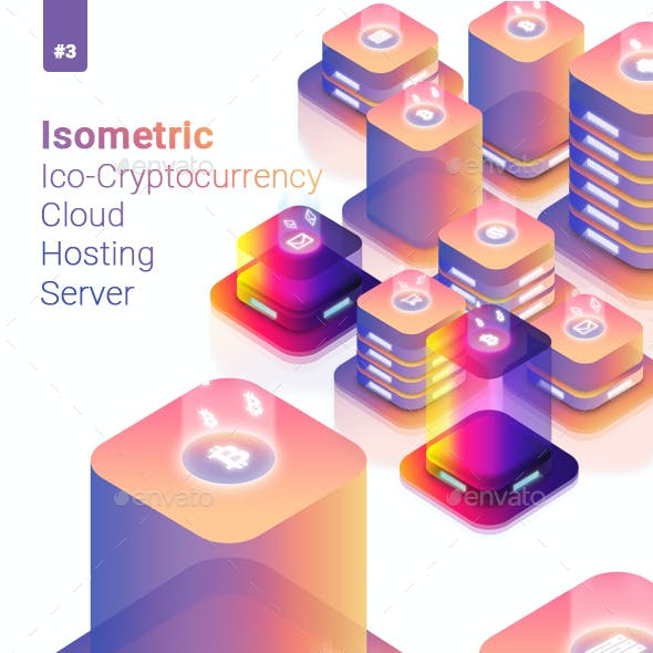 Isometric Ico Cryptocurrency Cloud Hosting Server Illustration 2