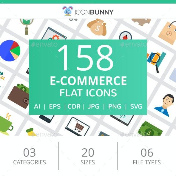 158 E-Commerce Flat Icons