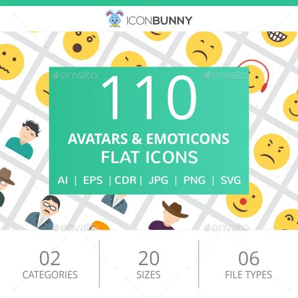110 Avatars & Emoticons Flat Icons