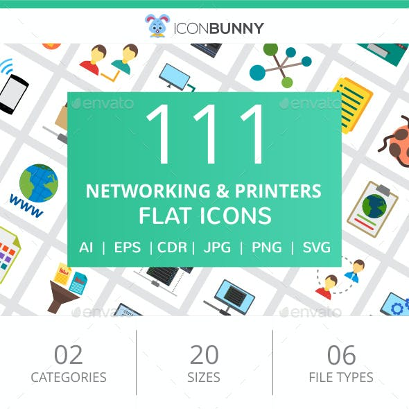 111 Networking & Printers Flat Icons