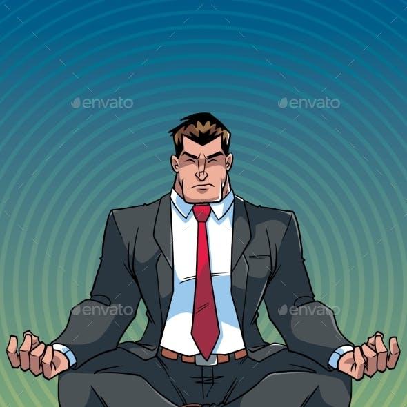 Businessman Meditating with Background