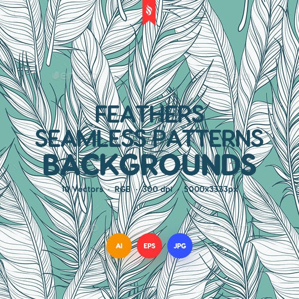 Feathers Seamless Patterns / Backgrounds