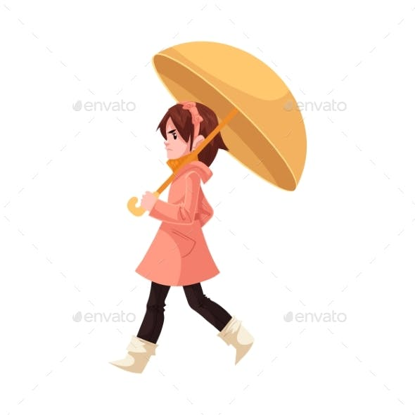 Little Kid Girl Under Umbrella in Coat and Rubber