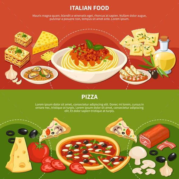 Italian Dishes Horizontal Banners
